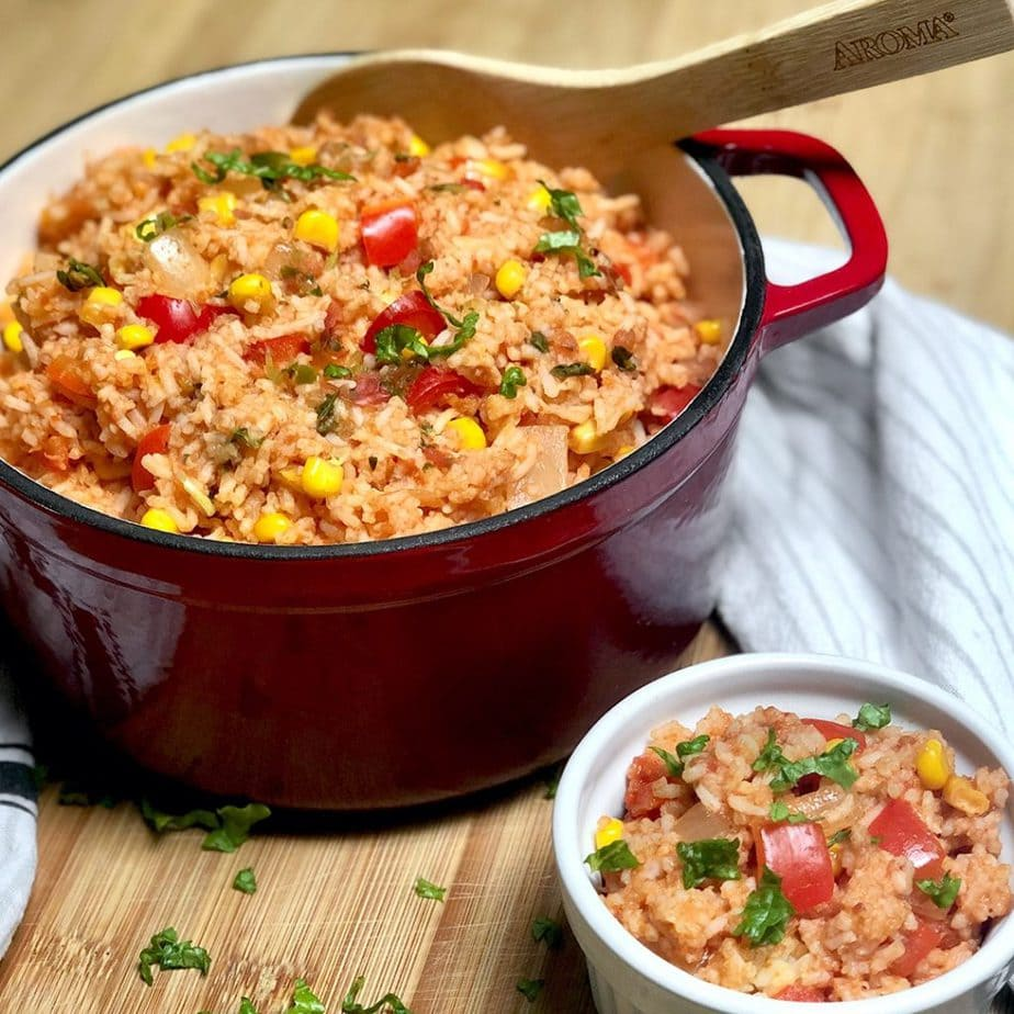 easy vegan mexican rice in a pot  and bowl