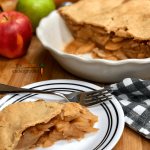 vegan apple pie on plate