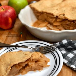 vegan apple pie on plate