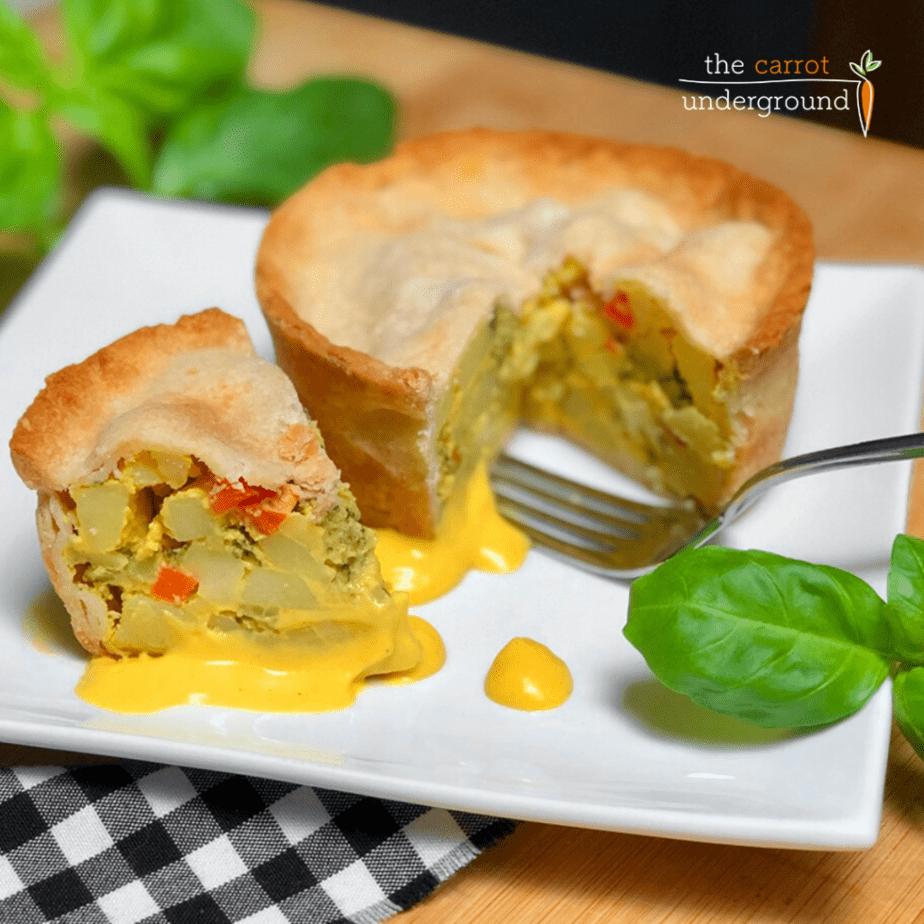Vegan Easy Cheesy Broccoli Pot Pie on a plate