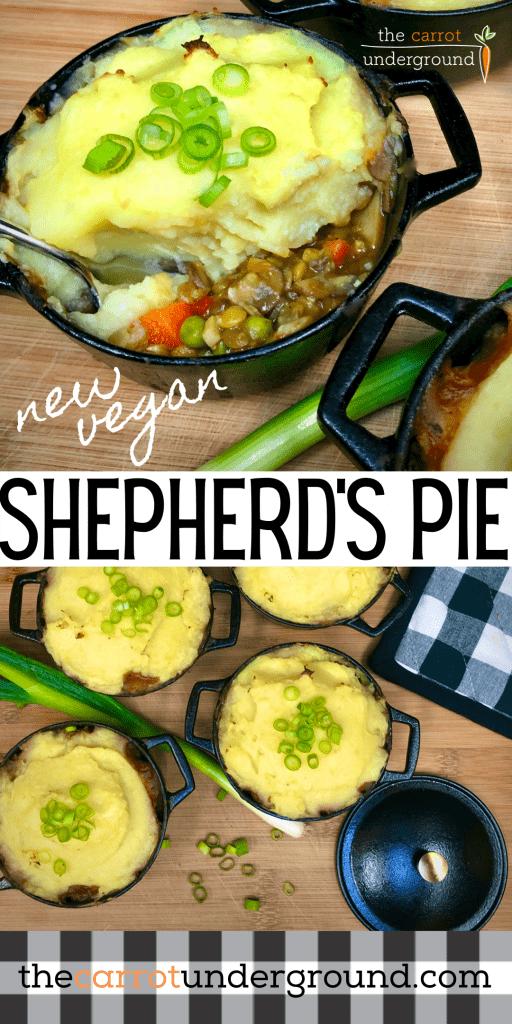 New vegan shepherd's pies in mini dutch ovens.