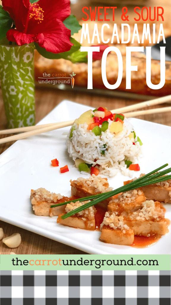 sweet & sour macadamia tofu and steamed  rice.