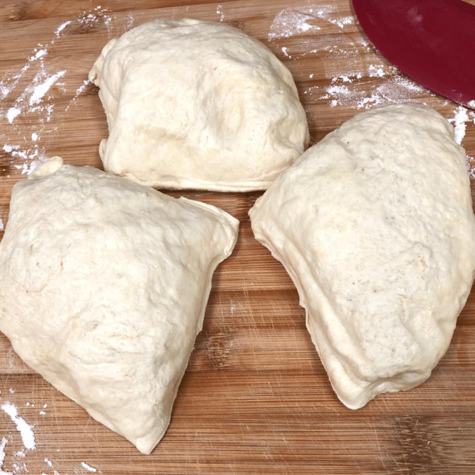 pizza dough cut into 3 pieces