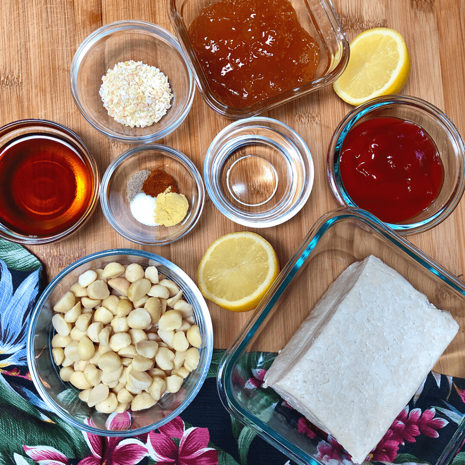 Ingredients for sweet & sour macadamia tofu in bowls.
