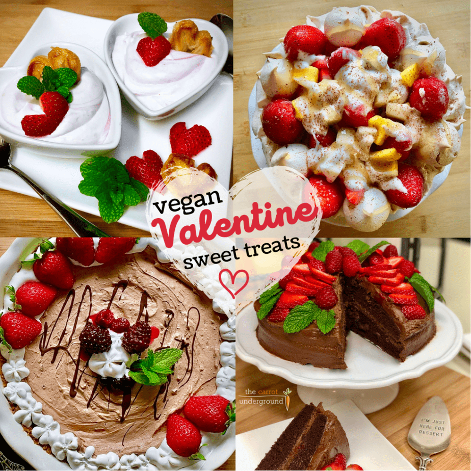 Collage image of vegan valentine sweet treat desserts including berry mousse in heart shape bowls, vegan pavlova with strawberries, vegan devil's food cake topped with strawberries and a vegan chocolate dream pie with whipped cream and berries.