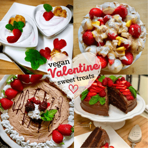 collage image of vegan valentine desserts