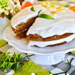 Vegan carrot cake on a cake pedestal