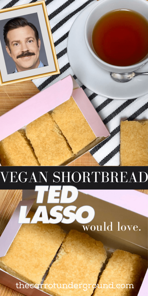 Vegan shortbread biscuits in a pink box with a photo of Jason Sudeikis as Ted Lasso in a frame