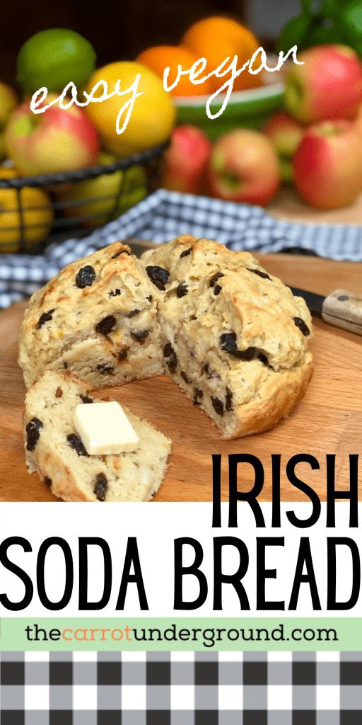 easy vegan irish soda bread on a cutting board with butter