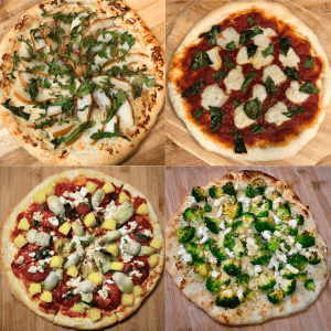 four varieties of homemade vegan pizzas