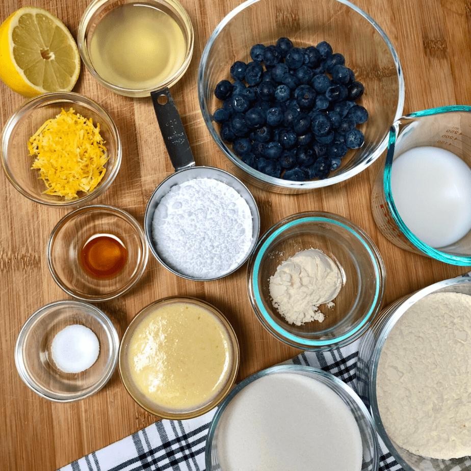 Ingredients for vegan lemon blueberry bread