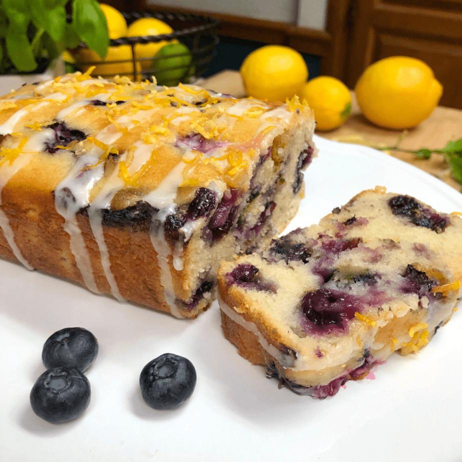 Sliced loaf of simple vegan lemon blueberry bread