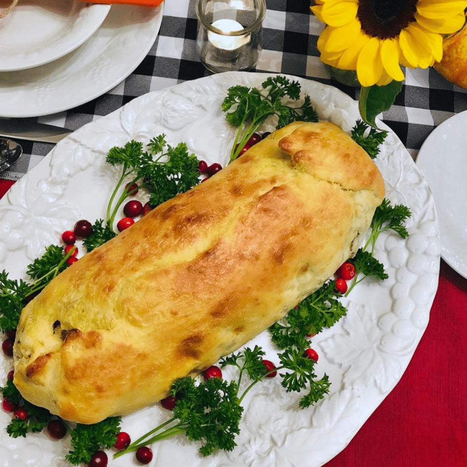 A loaf of freshly baked vegan mushroom seitan wellington