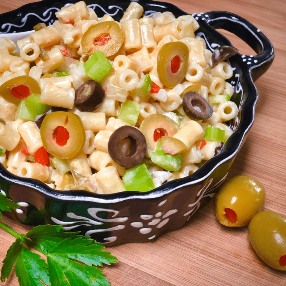 Mom's Vegan Macaroni Salad made with salad macaroni, olives, celery and onion