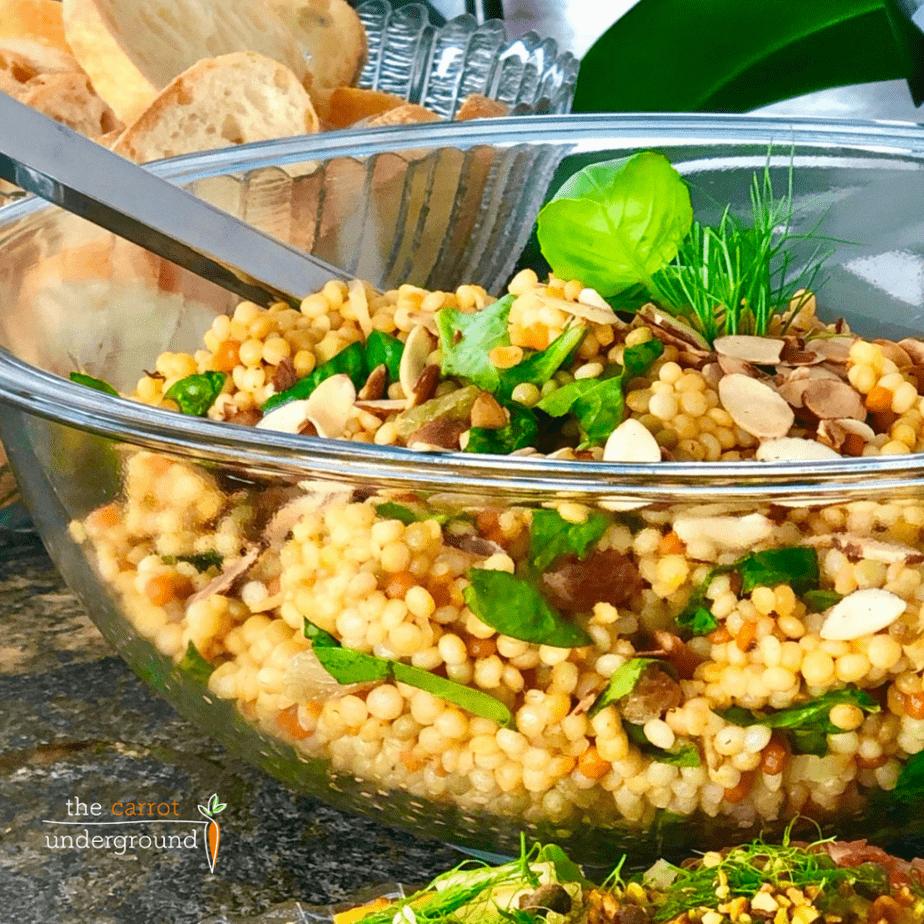 Vegan Israeli Couscous Salad in a bowl