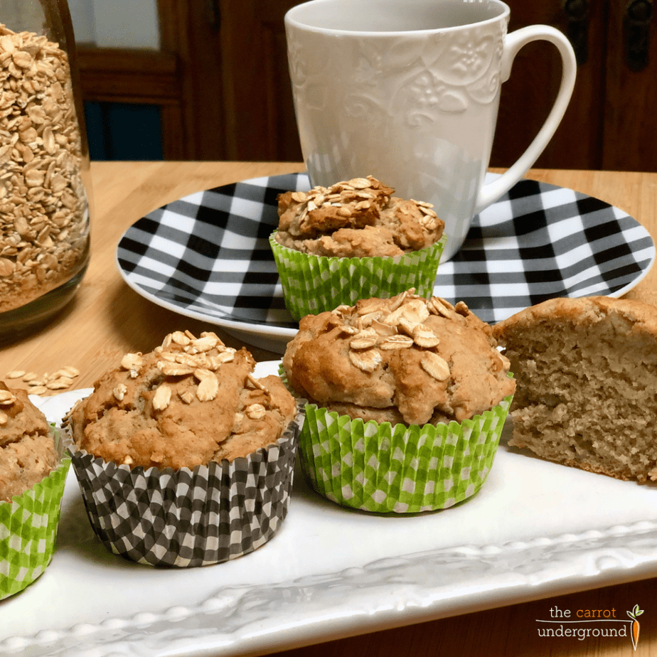 vegan oatmeal muffins on a plate