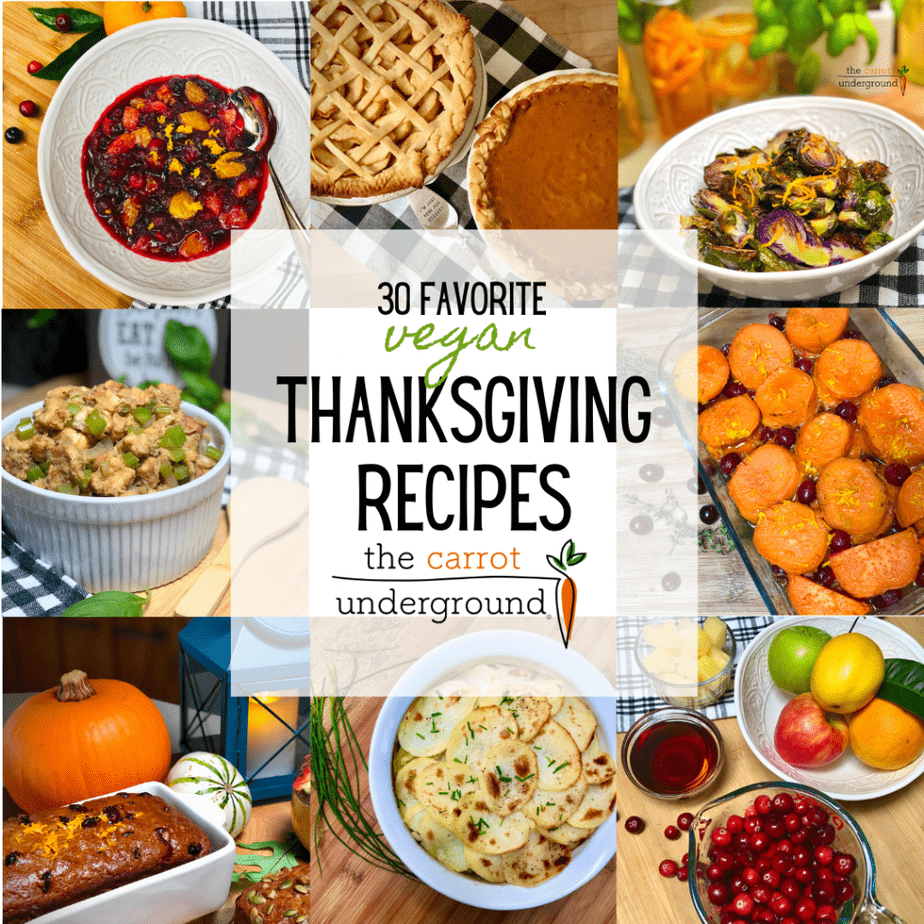 A collage of images of popular vegan Thanksgiving dishes.