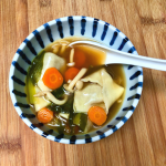 Homemade vegan wonton soup in a bowl.