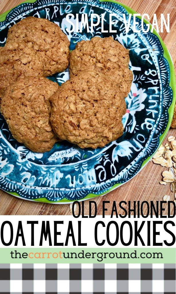 Simple vegan old fashioned oatmeal cookies pin