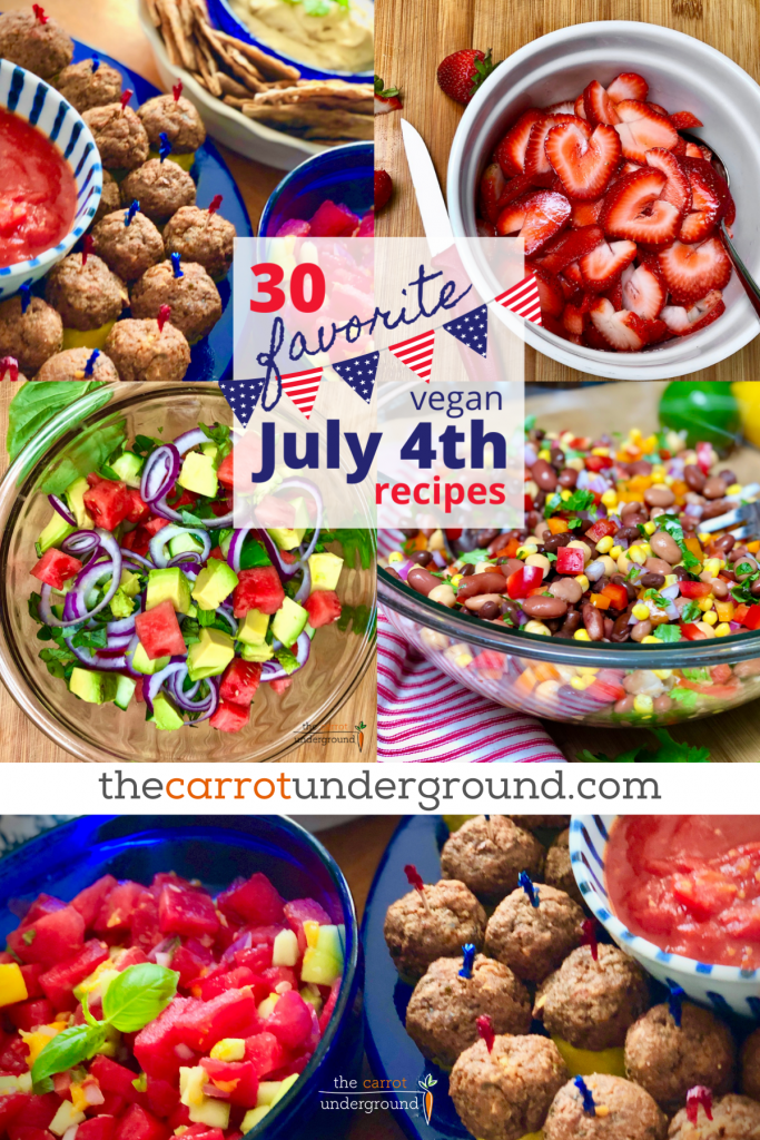 Pinterest pin with images of vegan meatballs, fresh strawberries, watermelon cucumber salad, and a 4 bean salad.