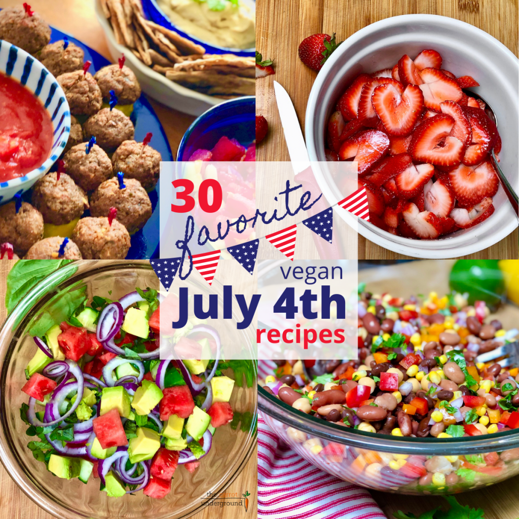 Images of vegan 4th of July dishes including, vegan meatballs, fresh strawberries, a watermelon cucumber salad and a 4 bean salad with peppers, corn, red onion and cilantro.