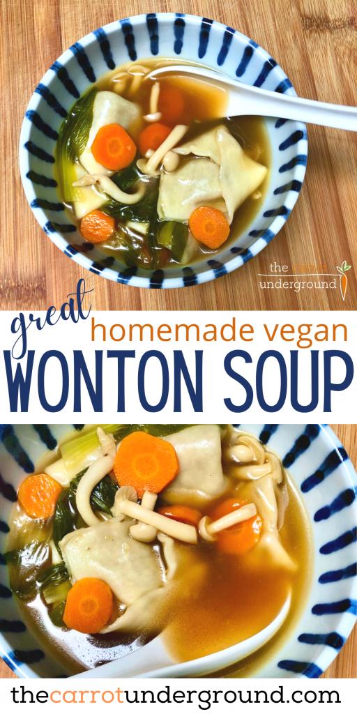 homemade vegan wonton soup in bowls