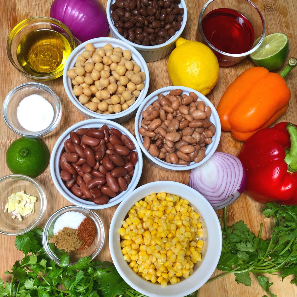 Ingredients to make four bean salad.