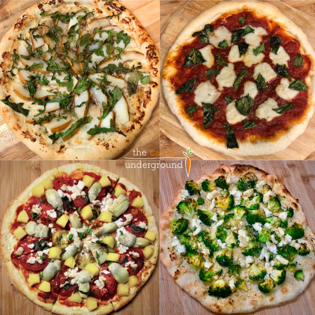 Four variations of vegan pizzas on a wood cutting board.