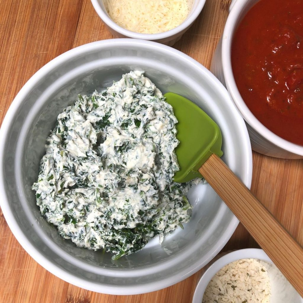spinach and vegan ricotta cheese filling for stuffed shells.