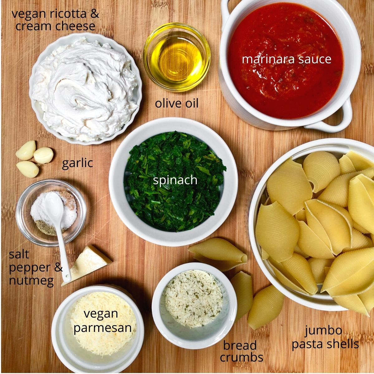 Ingredients for vegan spinach ricotta stuffed shells.