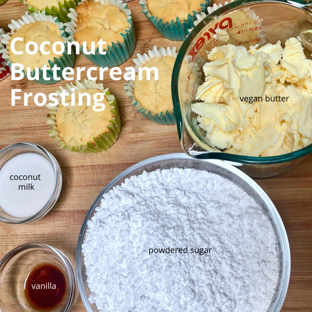 Ingredients for vegan buttercream frosting.