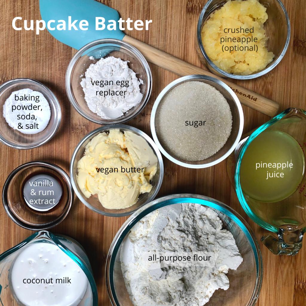 Ingredients for vegan pineapple cupcake butter.