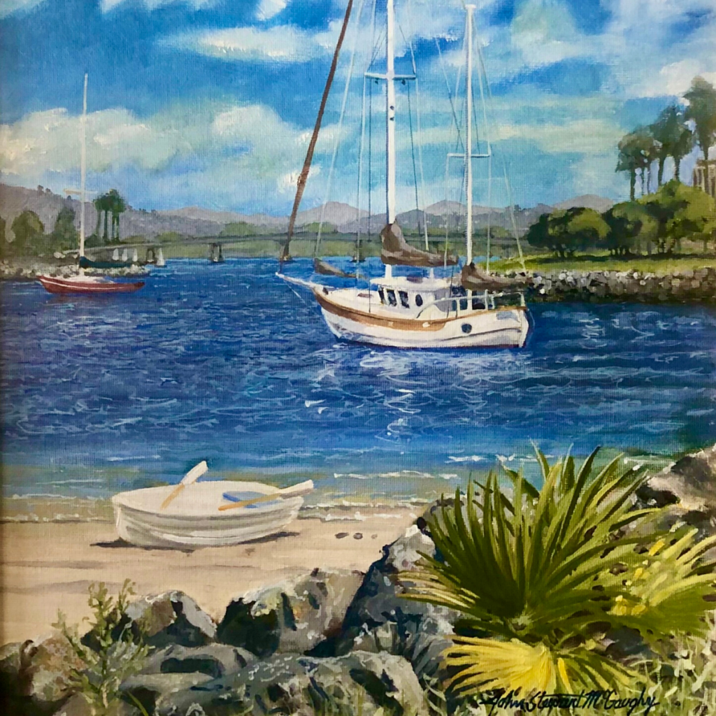 Original oil painting on canvas of a sailboat on Mission Bay.