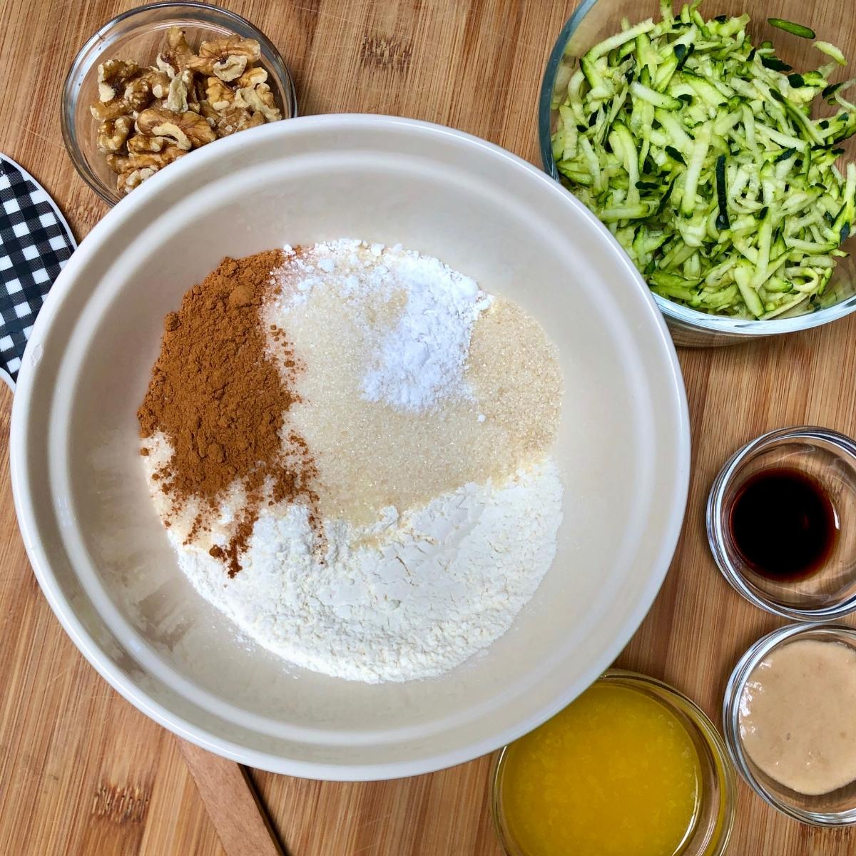 Dry ingredients in bowl for vegan zucchini bread.