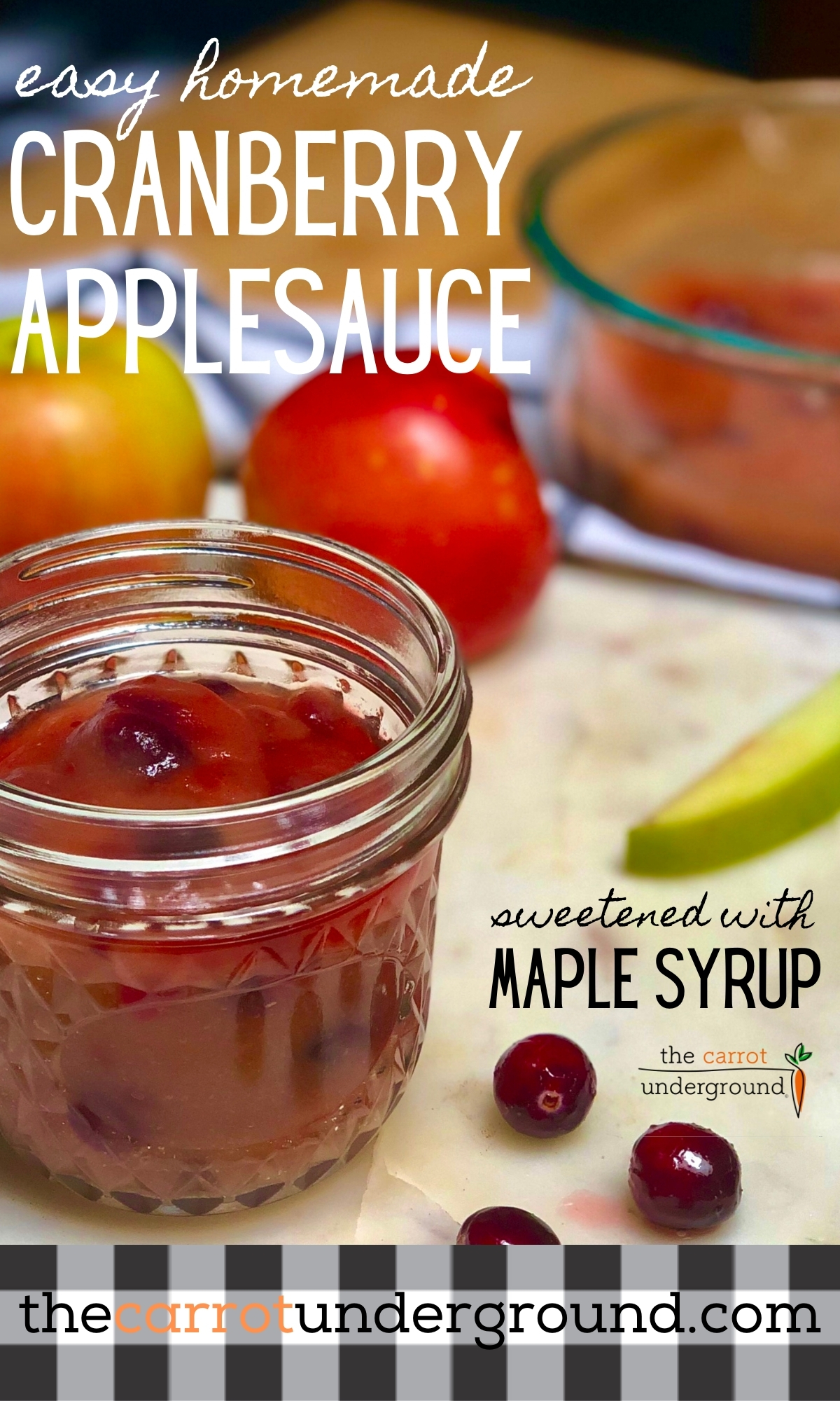 A jam jar filled with easy homemade cranberry applesauce sweetened with maple syrup.