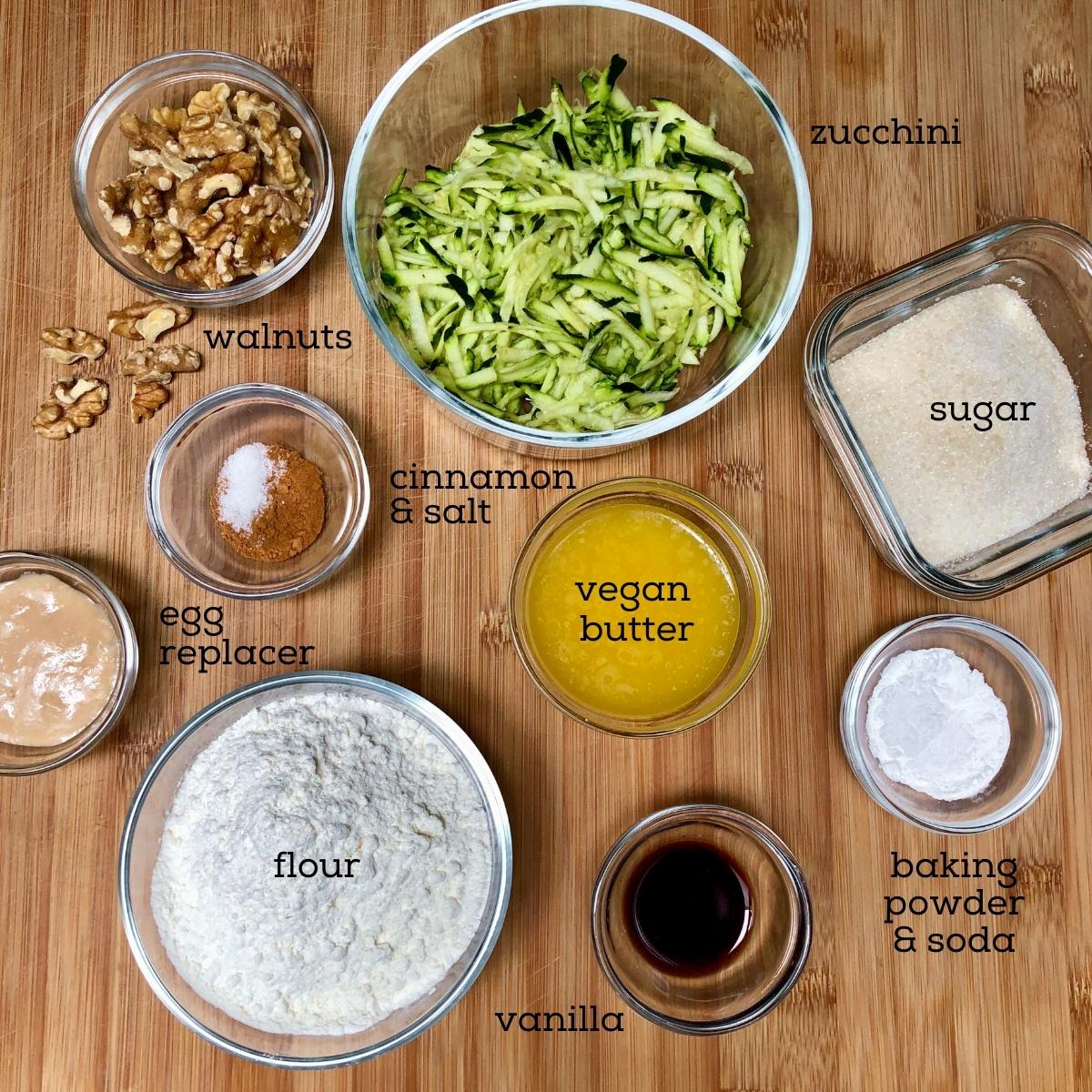 Ingredients to make simple vegan zucchini bread.