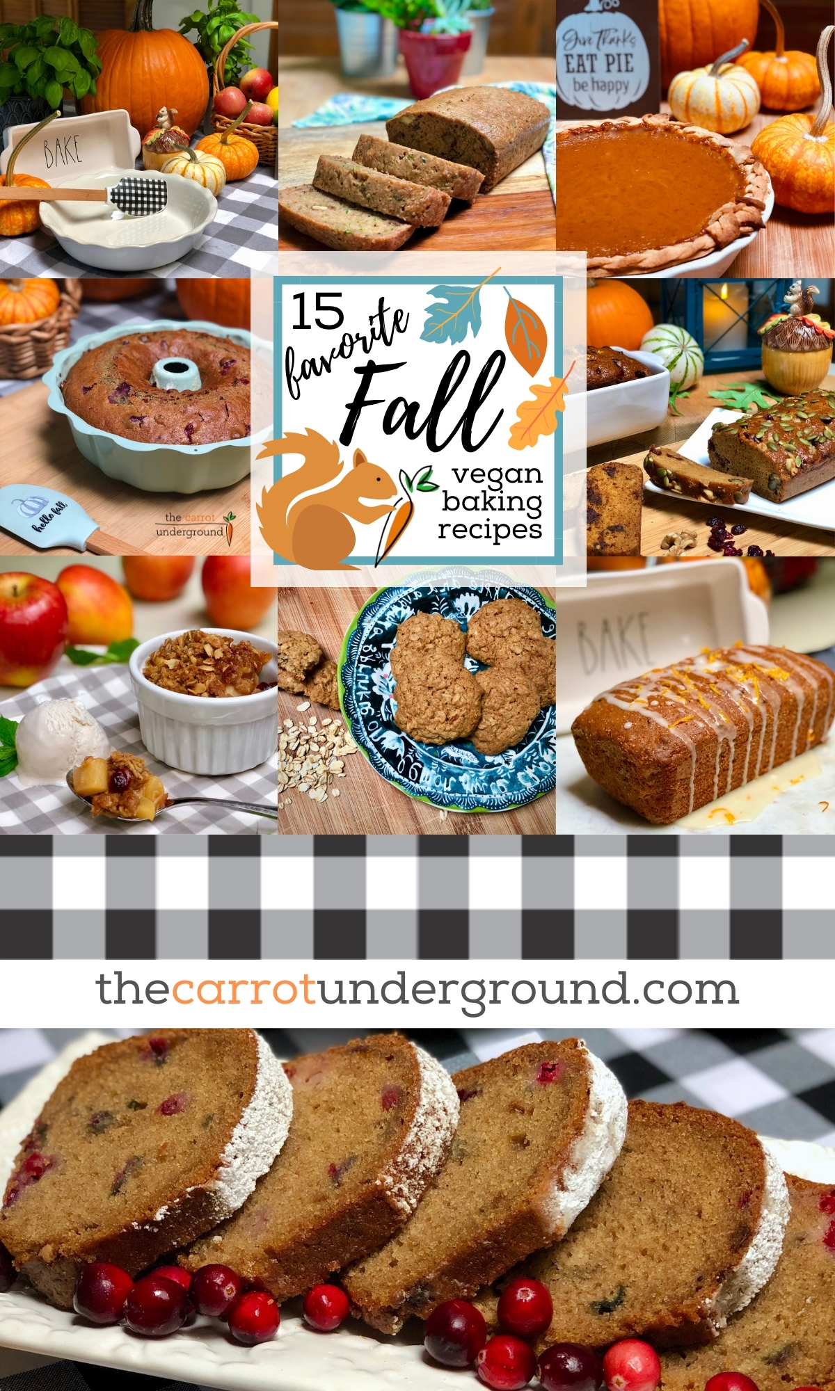 Images of 15 different fall-inspired vegan baked goods, including applesauce cake, pumpkin pie, oatmeal cookies, and zucchini bread.