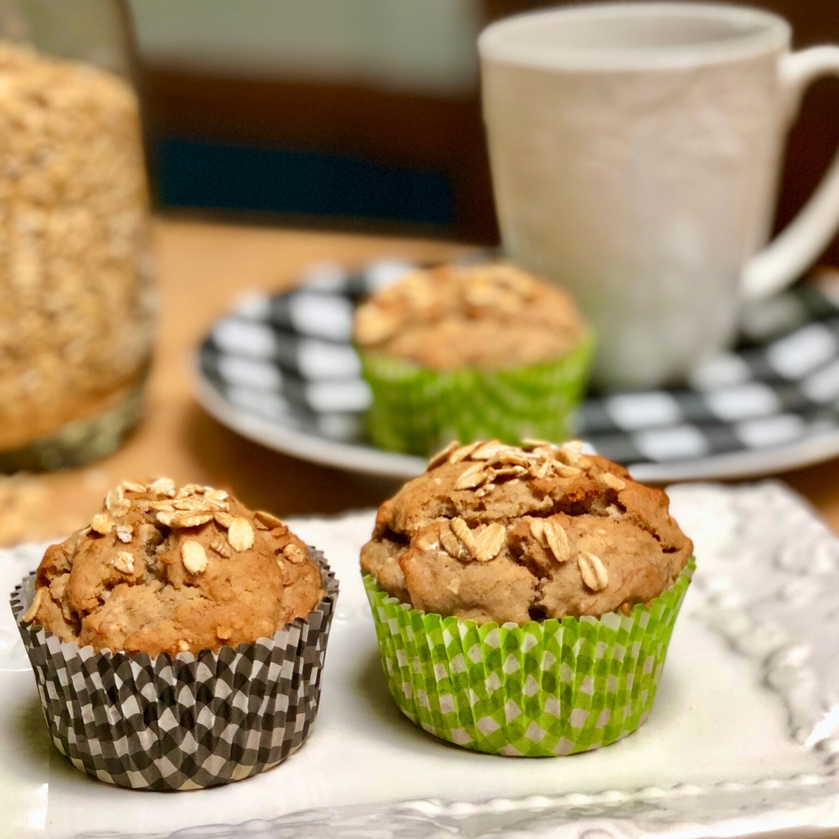 A plate with vegan oatmeal muffins.
