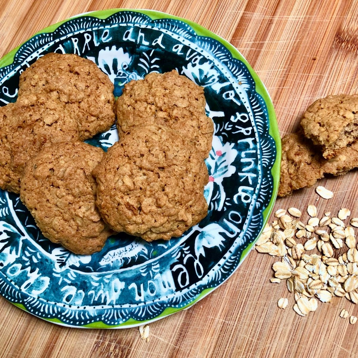 Simple vegan old fashioned oatmeal cookies on a plate.